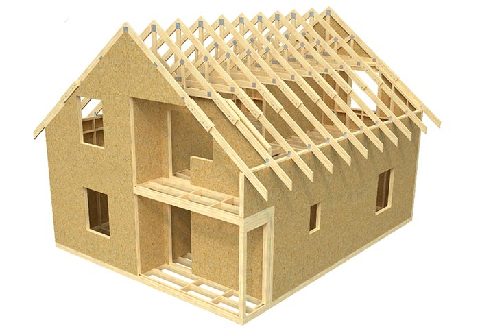 Модель дома в трехмерной проекции плюсы строительства каркаса на фото.