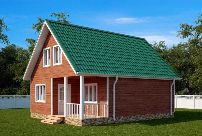 Каркасный дом с террасой и мансардой 6 на 6 своими руками на фото.