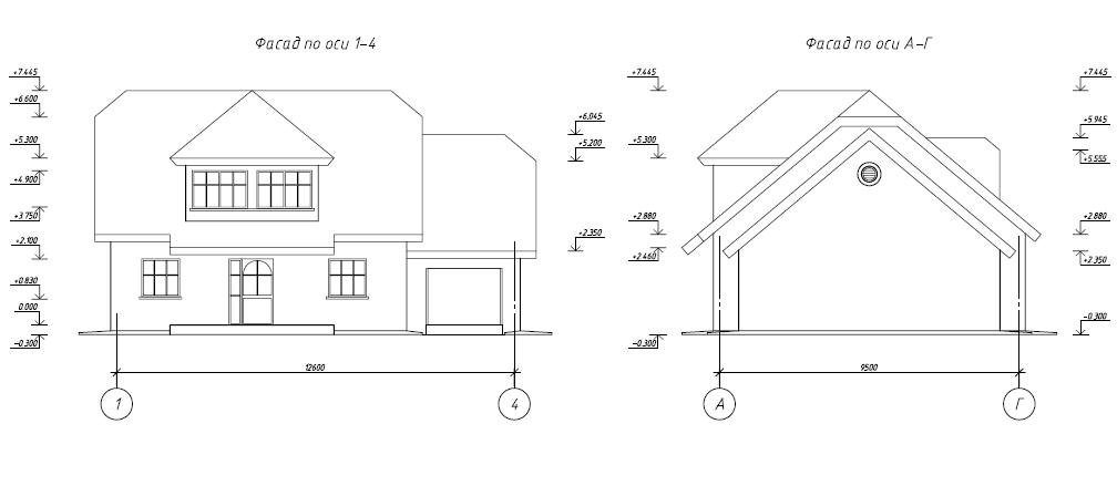 Фасад и торец каркасного дома с размерами на чертеже.