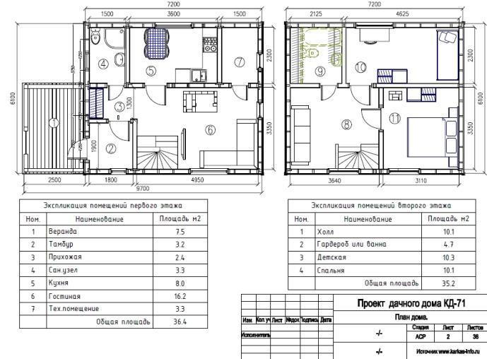 Расположение двух этажей каркасного дома с мебелью на чертеже.