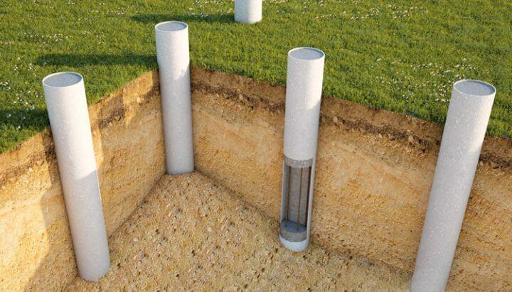 Расположение труб столбчатого фундамента на схеме.