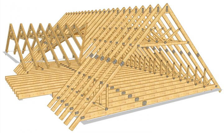 Для одноэтажного каркасного дома применяют двухскатную крышу на фото.