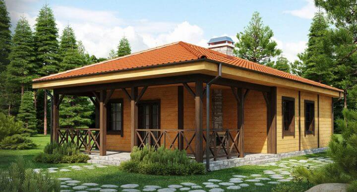 Строительство одноэтажного каркасного дома с террасой под ключ на фото.
