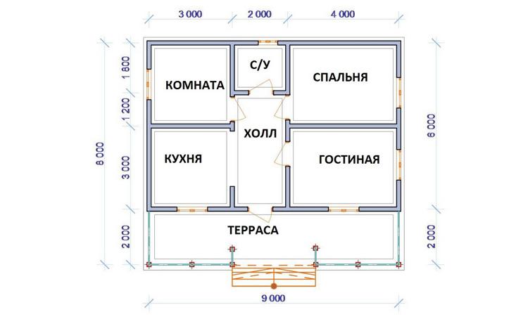 На проекте одноэтажного каркасного дома располагаются комнаты и кухня.