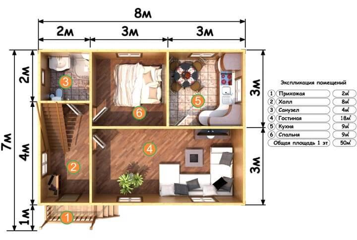 Схема расположения жилых помещений в каркасно-щитовом.